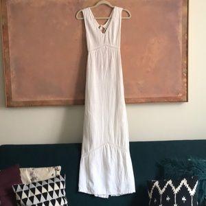 Vintage 70s white linen prairie dress open back